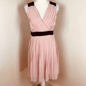 Elle chiffon pleated party dress blush pink black